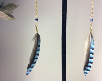 queen feather & lapis chain earrings