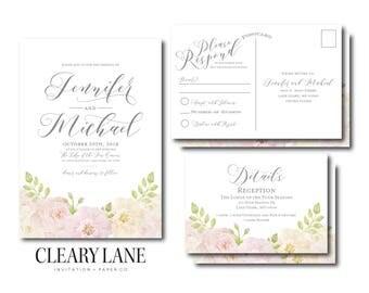 Floral Wedding Invitation Set, RSVP Postcard, Details Card, Suite, Printable Wedding Suite, Wedding Invite, Rsvp Card, Info Card #CL215