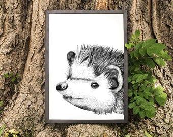 Baby Hedgehog Print, Baby Forest Animal Nursery Art, Hedgehog Print, Woodland Nursery, Forest Nursery Art