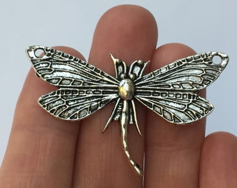 4 Dragonfly Charms Antique Silver 49 x 31mm - SC861