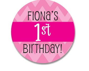 Birthday Sticker, First Birthday Label, Personalized Girl Birthday Sticker, Pink Polkdots, Birthday Favor Tags, Cupcake Toppers, Round Label