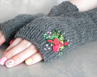 Grey Hand Knit Gloves Embroidered Gloves Gloves Fingerless Mittens Driving Gloves Fingerless Armwarmer Latvian Gloves Cable Knit Mittens
