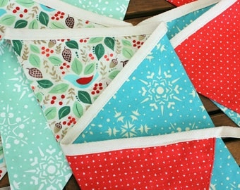 Bird and Snowflake Double-sided Fabric Christmas Bunting.