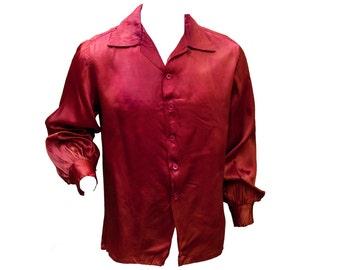 1950s XL Pajama Shirt Dress Maroon Red Satin Oversized Sleepwear Top Mens Retro Rockabilly Button Down Night Vampire High Fashion Tux Bowl