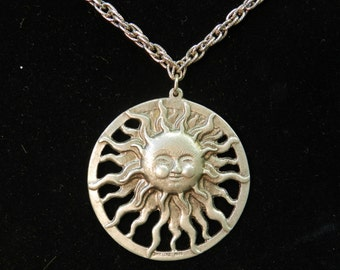 "Retro Sun/ Solar Pewter Pendant & Necklace by Metzke c. 1975 - Mod, Hippie, Face, Silver Tone, Celestial - 30"" Chain"