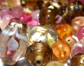 45g Lampwork Beads - Mixed Shape and Sizes - Pink