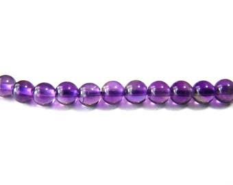 Round Amethyst Real Gemstone Beads 4mm