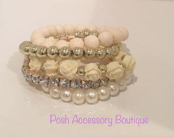 Posh Pearl Rose Flower Bracelet