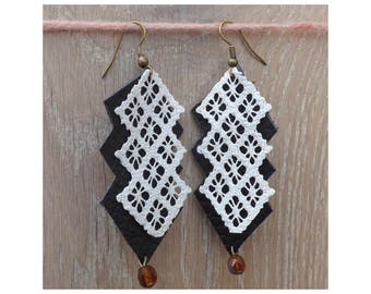 Black&White chandelier leather and lace Earrings  - boho earrings - chandelier earrings - unique jewelry
