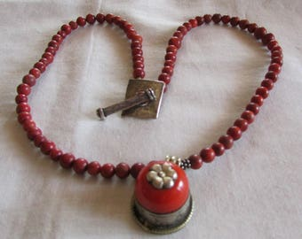Apple Coral Beads with Pendant Necklace