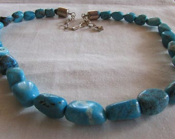 Chunky Turquoise Necklace with Sterling Extender Chain
