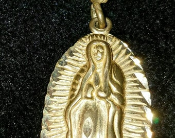 Large 14k Gold Mary Madonna Lady Guadeloupe Charm