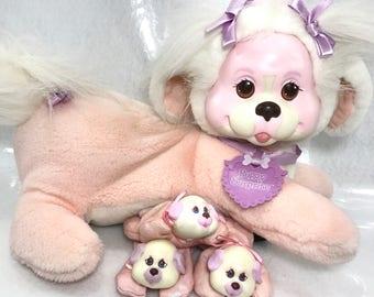 FREE SHIPPING! Vintage Hasbro Puppy Surprise Plush Dog Mom & 3 Babies NICE!