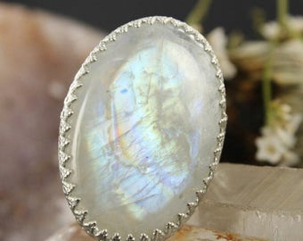 Rainbow Moonstone ring - Sterling silver ring - Statement ring - Handmade