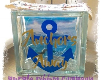 Glass Block Light - Anchors away