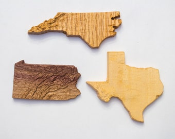 Wooden topographic map refrigerator magnets