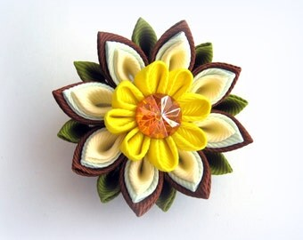 Yellow brown hair clip kanzashi flower pin kids ponytail holders colorful baby hair tie handmade jewelry for girls toddler fabric flower