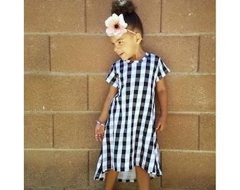 Girls Black and White Buffalo Plaid Dress - Toddler Dress - Baby Dress - Summer Dress - Girls Plaid Dress - Summer Dress - 6 M- Girls 12