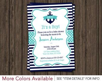 Nautical Baby Shower Invitation - Anchor Invitations