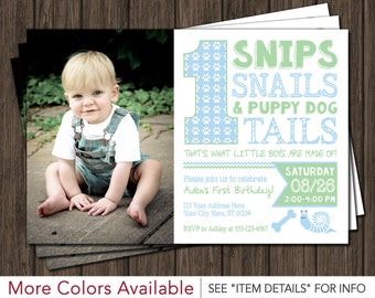 Snips Snails and Puppy Dog Tails Birthday Invitation
