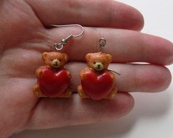 80s Teddy Bear Earrings, Valentines Day, Kitsch, Novelty, 1980s, Vintage Jewelry, Vintage Earrings, Hearts, Bears, Cute
