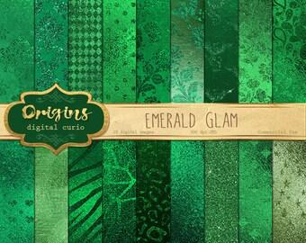Emerald Green Glam Digital Paper, emerald digital paper, green foil metallic backgrounds, scrapbook paper, digital green glitter texture