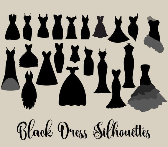 black dress silhouettes clipart little black dress