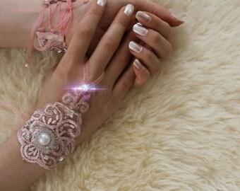 soft pink wedding gloves