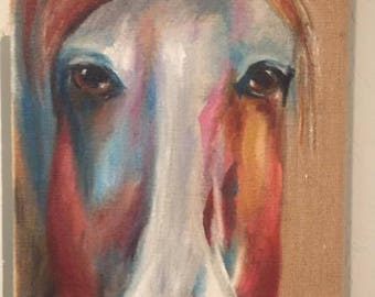 """Original Oil Painting """"Wild and Free"""" is a 12"""" x 24"""" oil painting on burlap"""