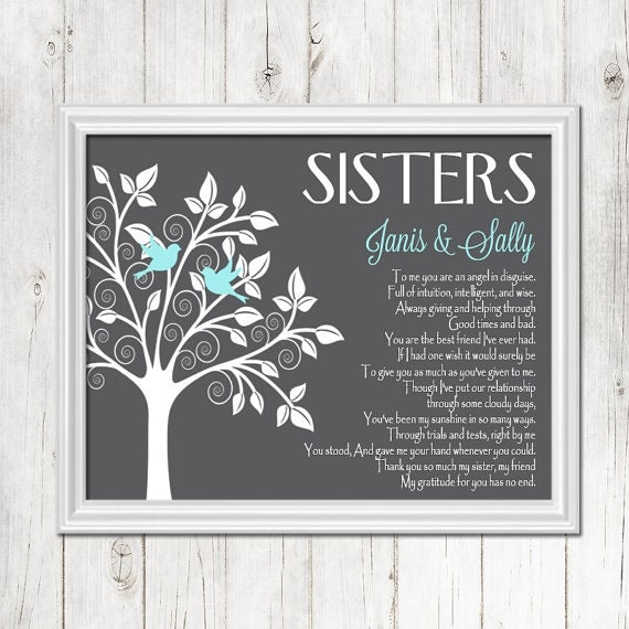 Sister Gift Print Personalized Gift For Your Sister Wedding