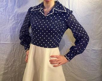 Vintage 1970s Melissa Lane Polka Dot Cowgirl Dress