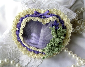 Crochet Heart Sachet, lavender, scented sachet, sachet drawer, potpourri, mothers day, air freshener, wedding gift, birthday gift, favor