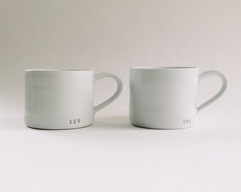 4-piece set of simple white mugs, wheelthrown porcelain cappuccino cups, minimalist small ceramic teacups, matte white mugs, set of 4 mugs
