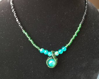 Turquoise wire wrapped beaded necklace
