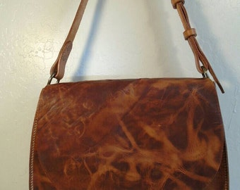 Large Distressed Horween leather saddlebag hand stitched cross body saddlebag messenger bag