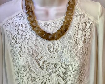 Tortoise Shell Marbled Leopard Chunky Chain Lucite Link Housewife Resin Statement Necklace