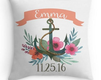 Personalized Pillow - Nautical Birth Pillow - Anchor - Baby Name Pillow - Baby Gift - Baby Girl