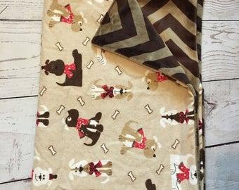 Personalized Dog Blanket,Pet Blanket,Monogrammed,Blanket for Puppies,Pet Items,Crate Blanket,Dog Print Fabric,Gray Minky,Fleece Pet Blanket