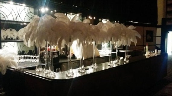 Ostrich Feather Centerpiece Kits : Ostrich feather centerpiece kits with eiffel tower