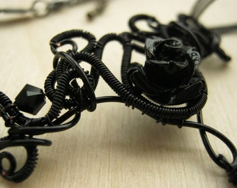 gothic neckalce, gothic jewelry, wire wrapped jewelry, wire wrapped necklace, gothic choker, lolita jewelry - BLACK ROSE necklace
