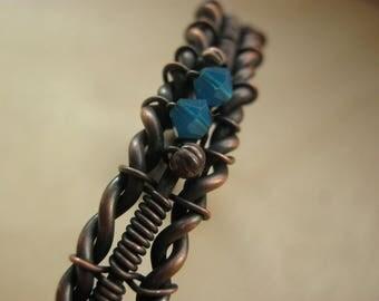 wire wrapped jewelry, wire wrapped bracelet, copper bracelet, blue copper jewelry, wrist cuff, copper bracelet, copper cuff - UNDER the SKY