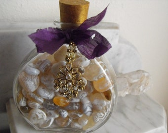 Decorative Bottle Of Polished Agates With Jewelry Charm And Cork Top