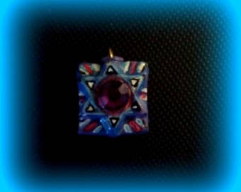 Two-Sided Star of David, Colorful Star of David Pendant, Blue Star of David Pendant, Purple Star of David Pendant