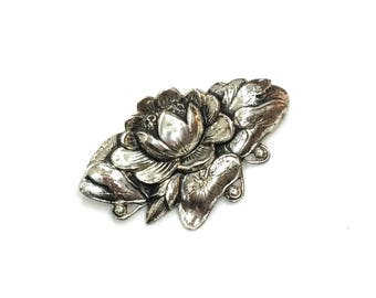 Art Nouveau Brooch, Water Lily Sterling Brooch, Danecraft Sterling Silver, Lotus Jewelry, 1940s 1950s, Vintage Jewelry