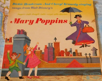 "Mary Poppins - Vintage Vinyl 12"" Album. Includes A Spoonful of Sugar and Supercalifragilisticexpialidocius."