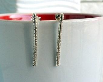 Sterling modern branch earring, Sterling bar earrings, Tree branch earrings, Line earrings, Geometric post earrings, Bar studs, Twig earring