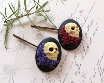 NEW! Choose one Gothic Valentine Skulls And Roses Hair Clips