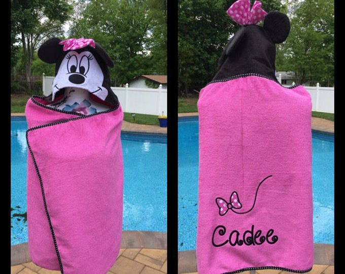 Minnie Mouse Hooded Towel Bath Wrap - Personalized