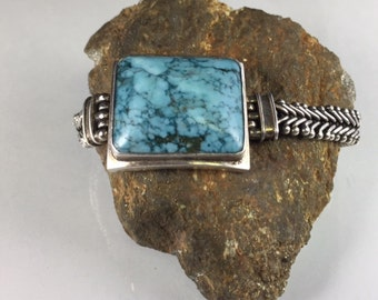 Pale Blue Turquoise and Braided Silver Southwestern Bracelet with Large  Pale Blue Turquoise Stone and Flexible Braided Silver Strap