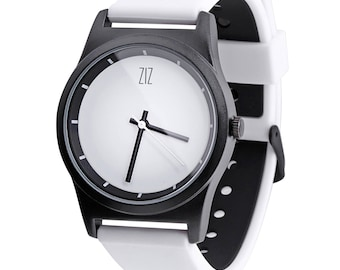 White watch ZIZ with matte coating, silicone band